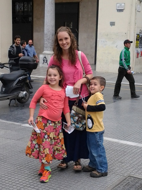 Rachel and our other two children, Chloe and Charlie, while out witnessing