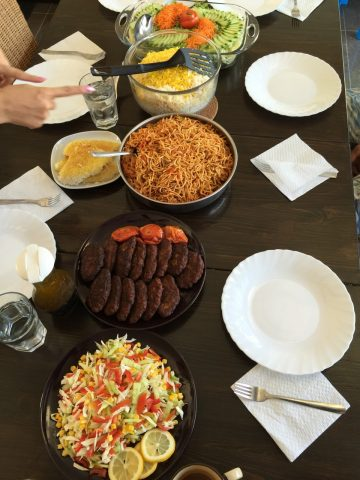 The wonderful Middle Eastern feast made for us by our friends from church.